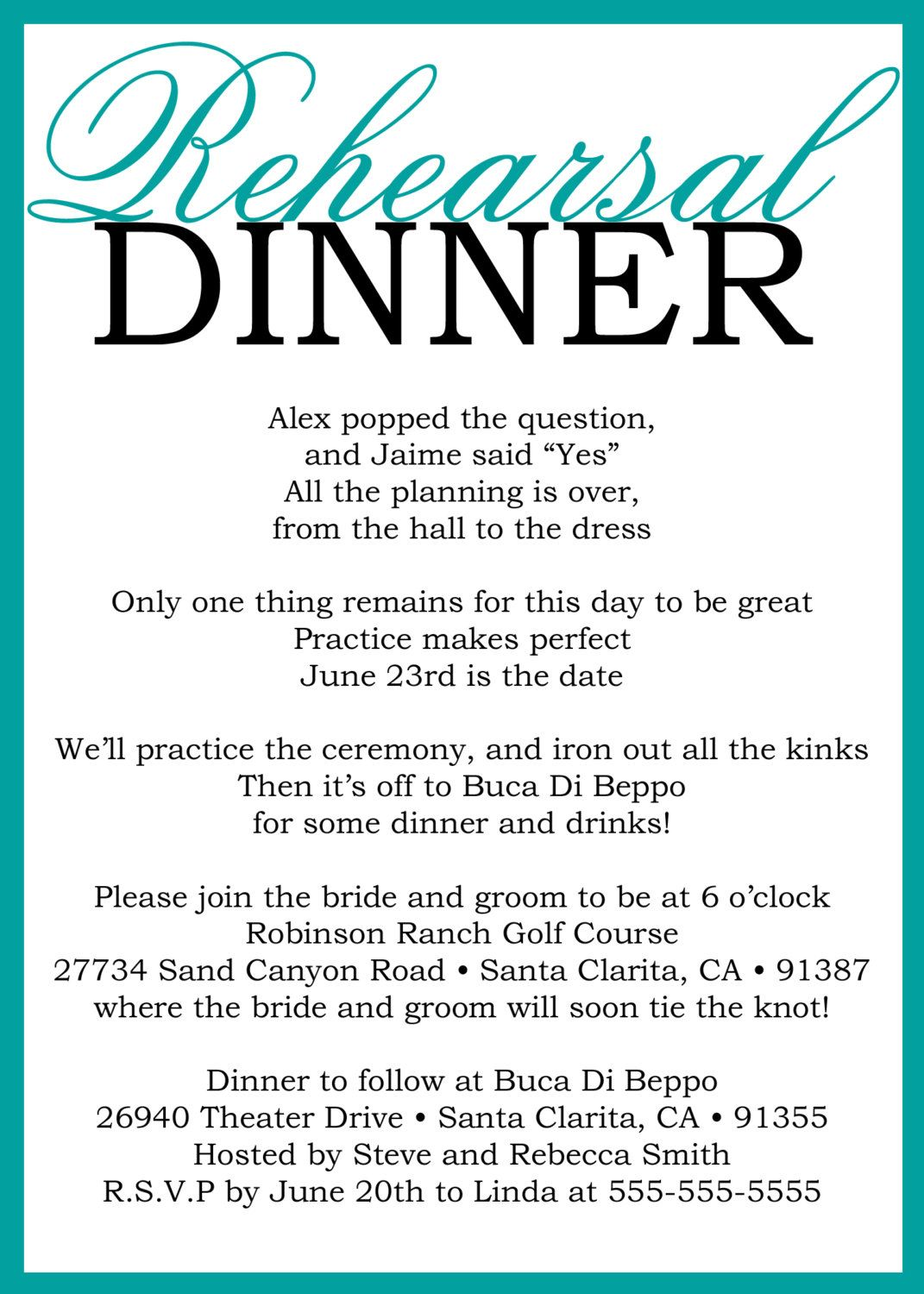 Custom Printable Wedding Rehearsal Dinner Poem Invitation Digital File
