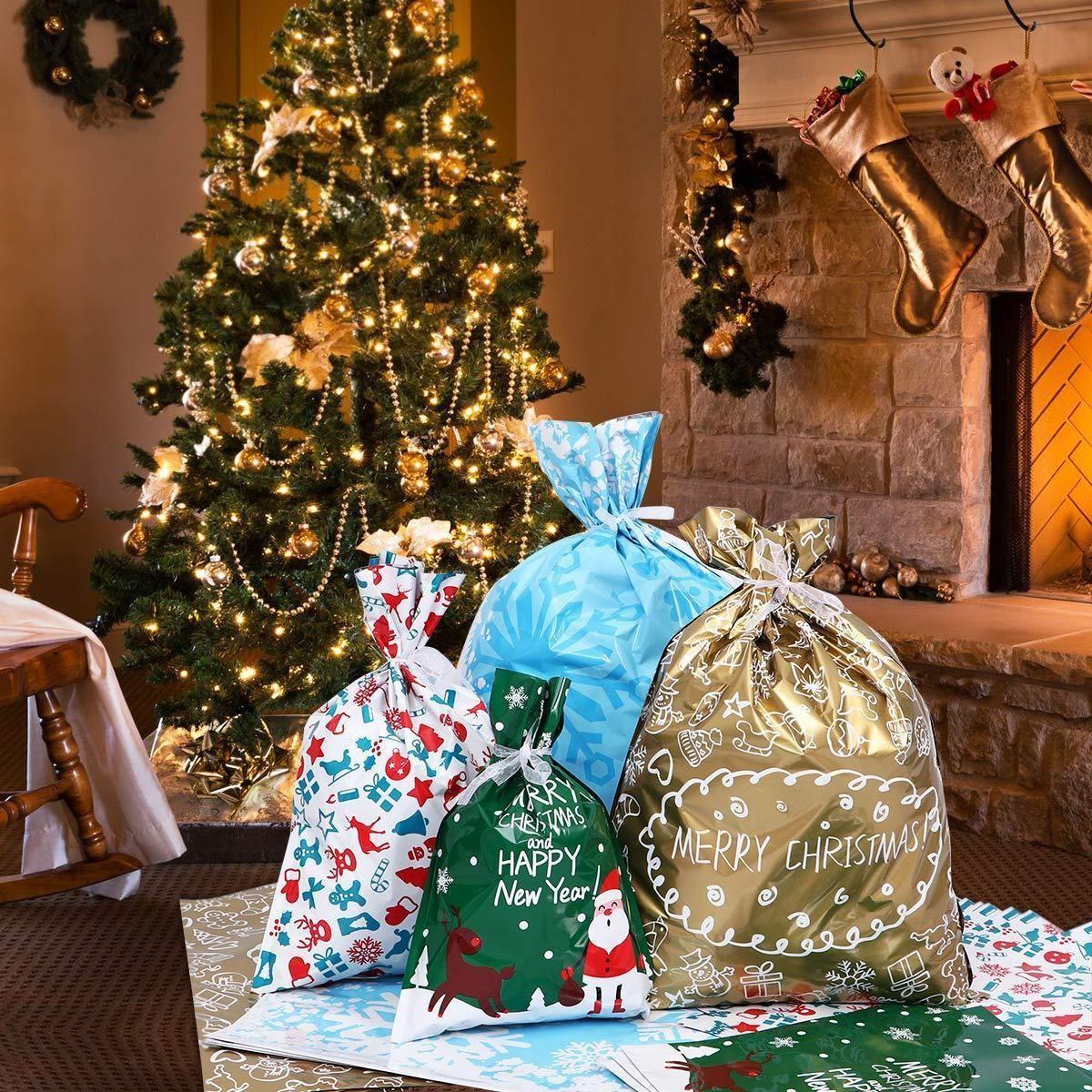 Drawstring Christmas Gift Bags 30-Piece Set #inspireuplift explore Pinterest