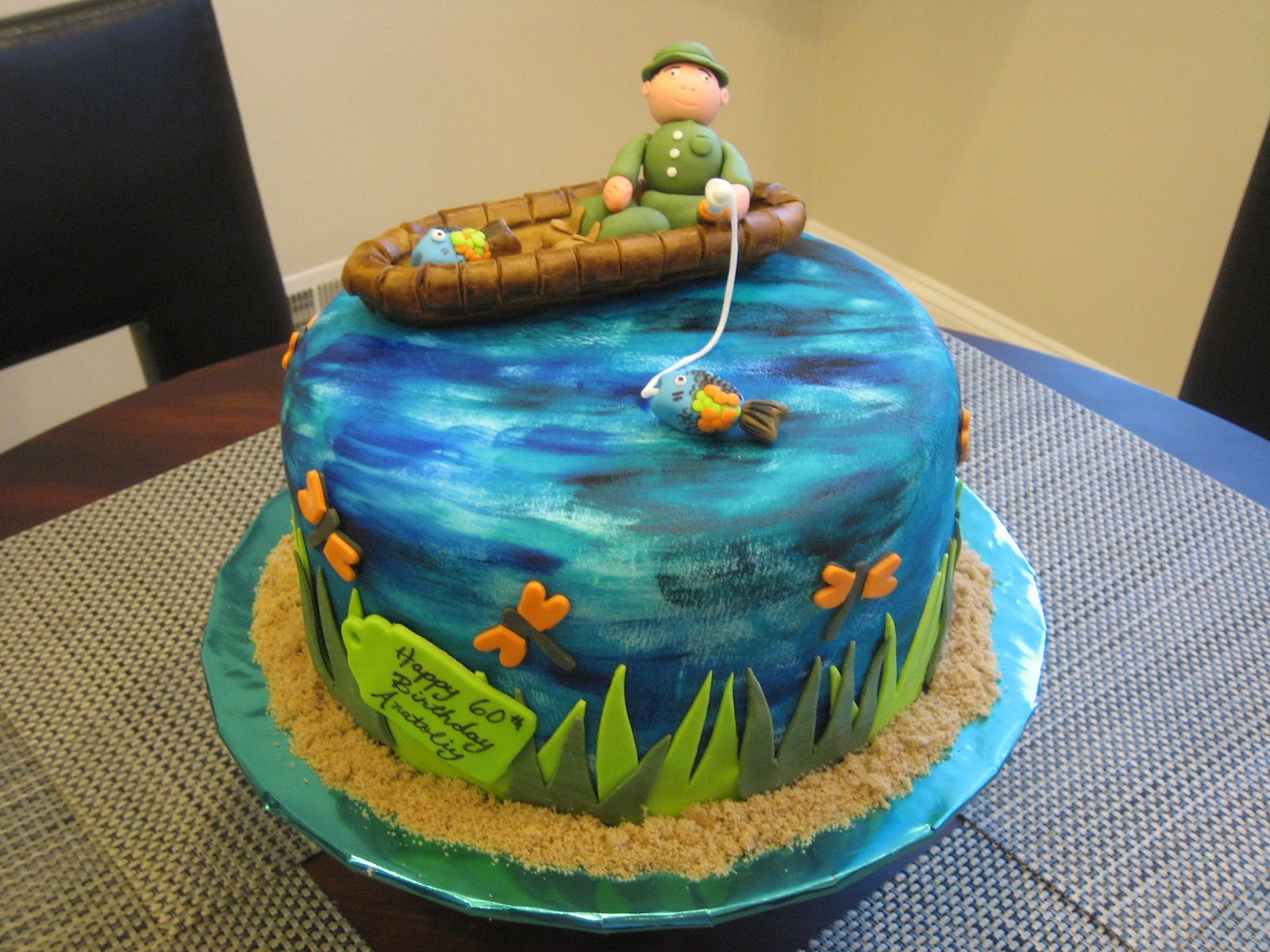 La p tisserie rose fishing themed 60th birthday cake for Adult birthday cake decoration