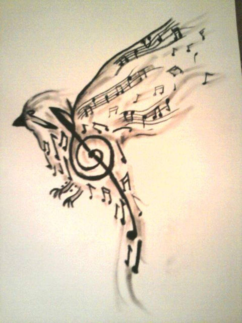 Music tattoo designs tattoo ideas pictures tattoo ideas pictures - Bird Made Up Of Music Notes Tattoo Design Tattoos Book