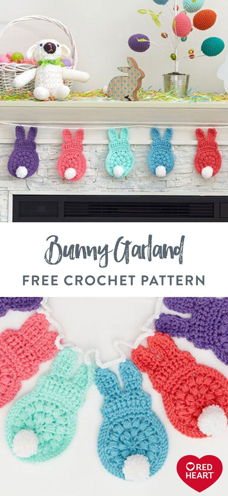 Photo of Bunny Garland free crochet pattern in Red Heart With Love yarn. Transition into …