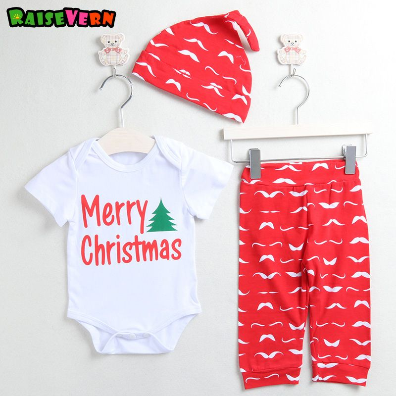 b856b278dd3a Raisevern 2017 newborn infant Christmas Suit Baby Girl Boy Letter printed Top  Romper+striped Long Pant+hat 3pcs Sets kids outfit #ChristmasOutfit