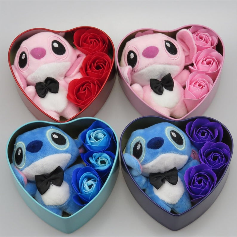 Photo of Inspired by disney Handmade lovely stitch plush toys with soap flowers heart shape gift box creative Easter and birthday for girls