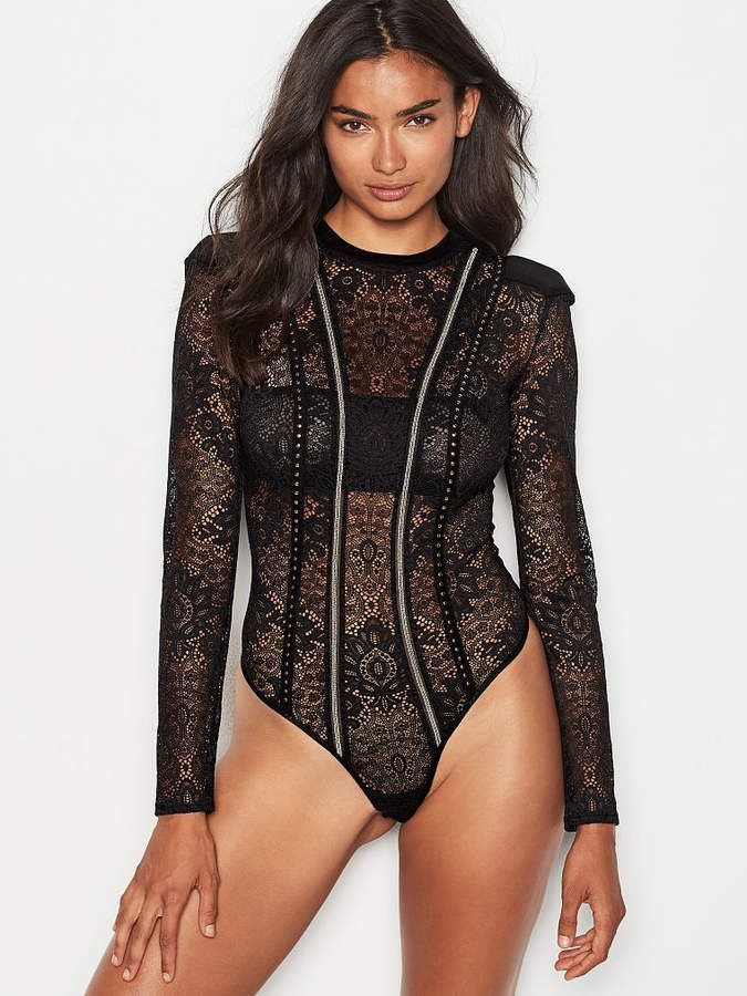 6a00851538 Very Sexy Embellished Lace Bodysuit Sheer lace with glimmering studs  contour curves in a long-sleeve bodysuit made to be seen. Sheer