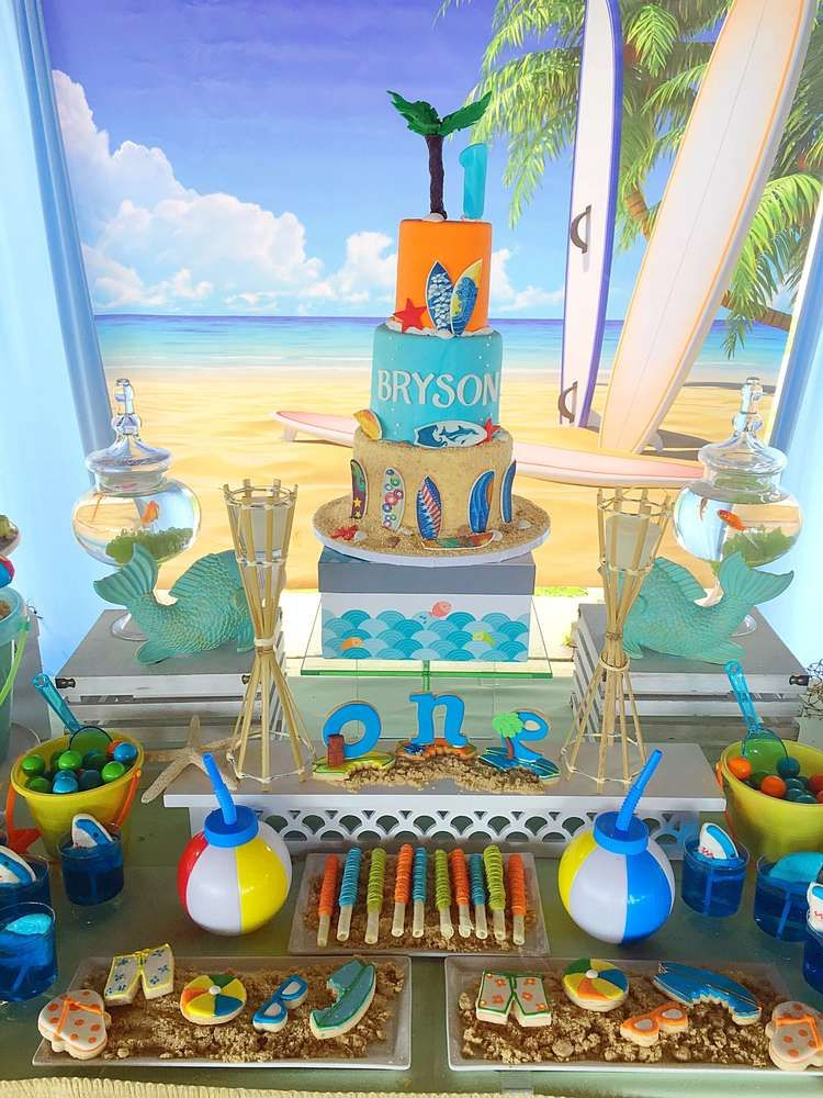 Surfs Up Dude Catchmyparty Com Pool Birthday Party Baby Boy 1st Birthday Party Surf Birthday