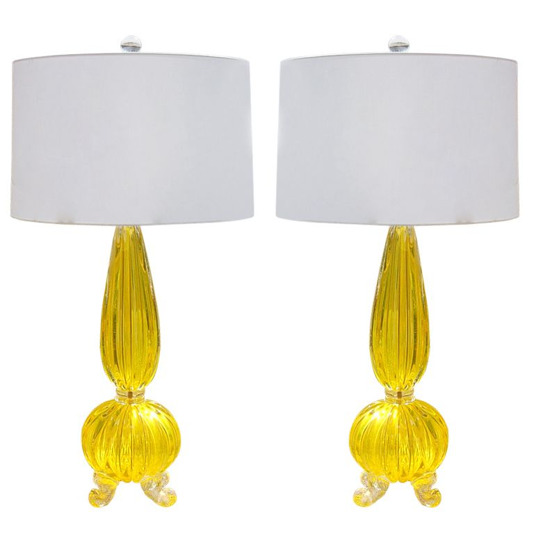 Vintage Goldenrod Opaline Four-Footed Murano Lamps