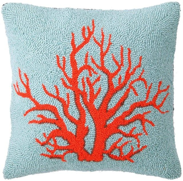 Phi Coral Red Hook Pillow found on Layla Grayce #laylagrayce #orange #turquoise #interiordesign