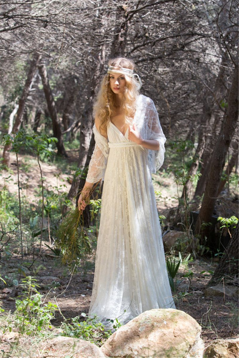 Vintage bohemian boho wedding dress sexy v neck lace wedding gowns