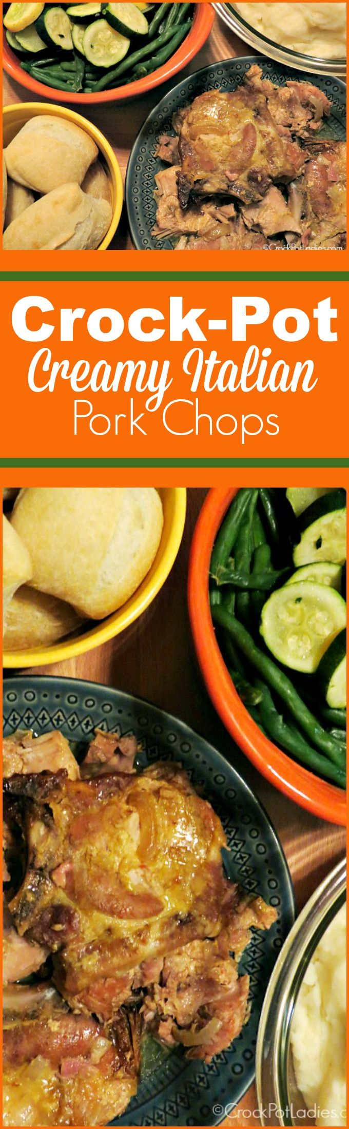 Crock-Pot Creamy Italian Pork Chops - With just 5 ingredients this quick and easy recipe for Slow Cooker Creamy Italian Pork Chops is simple to put together and the pork chops come out moist and tender and full of flavor! {via CrockPotLadies.com} #crockpot #slowcooker #recipes #glutenfree #healthy #weightwatchers