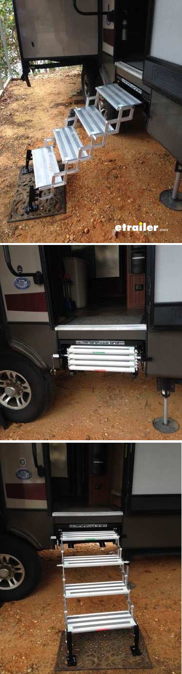 These wide aluminum RV steps have an easy-to-use lever that lets you change between 3 height settings for proper elevation. Fine-tune height and level stairs with built-in landing gear legs. Glow tape creates a lighted step surface.