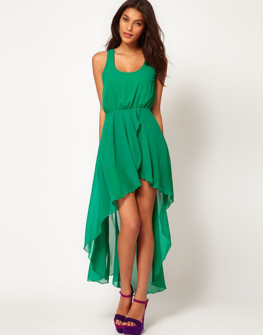 Green dress short in front long in back  A little too high in the front for me but still pretty