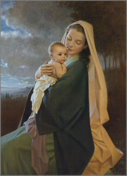 """""""Treasured in Her Heart"""" art by artist Kathy Lawrence, print released in 2004, in size 15 x 11 inches, limited edition of 650, giclée on paper (pinned by Nancy Lee Moran in 2015) #Madonna #Jesus"""