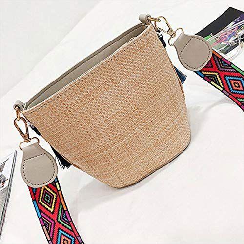 Straw tassel weaving boho small bucket women summer beach bag with strap shoulder