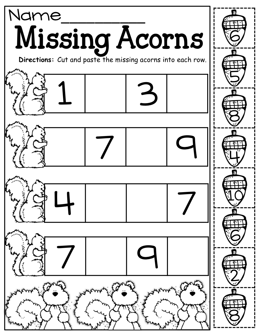 Missing Acorns Cut and Paste – Cut and Paste Kindergarten Worksheets