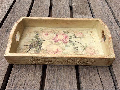 C mo decorar una bandeja con decoupage y decapado - Decorar cajas de madera con servilletas ...