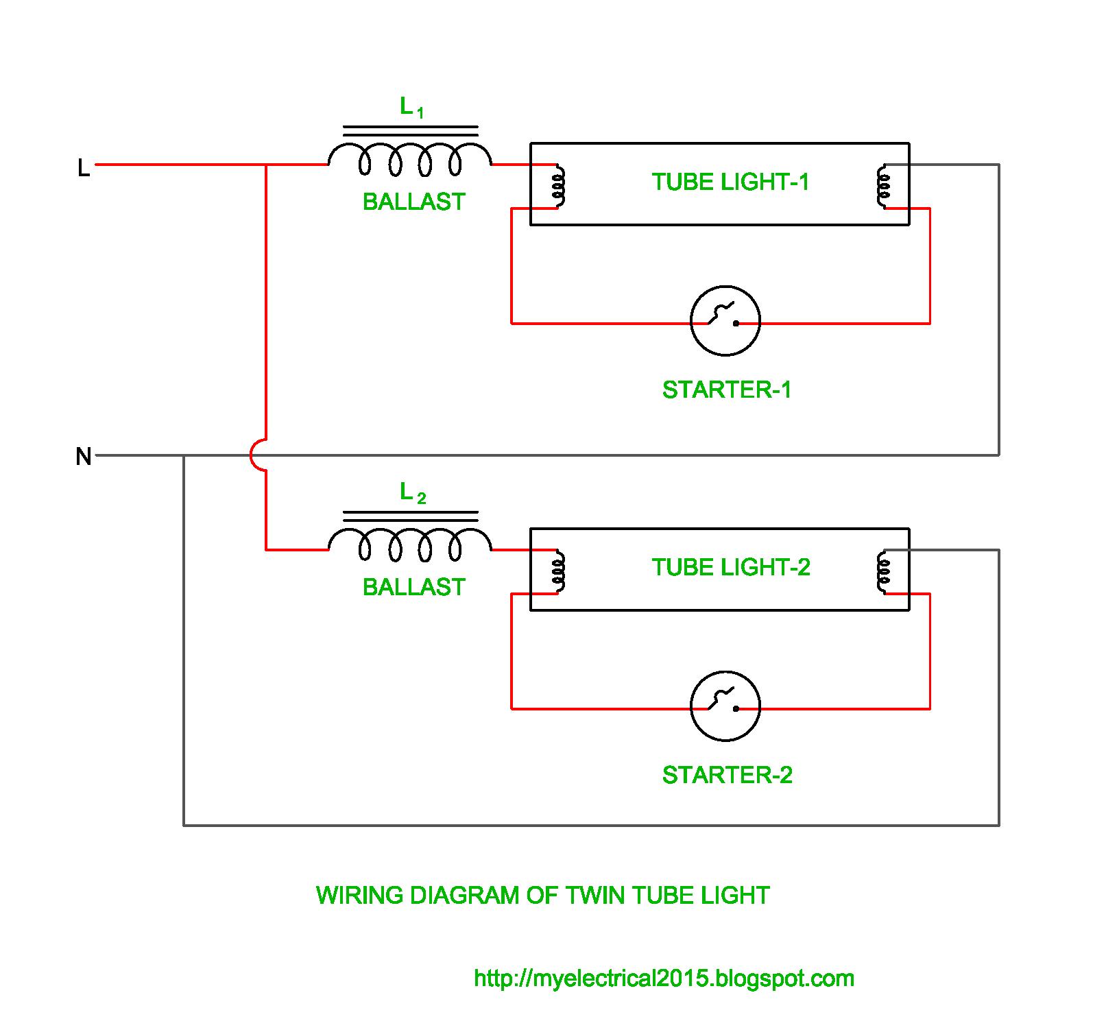Wiring Diagram Of Twin Tube Light Fluorescent Lamp Tube Light Diagram