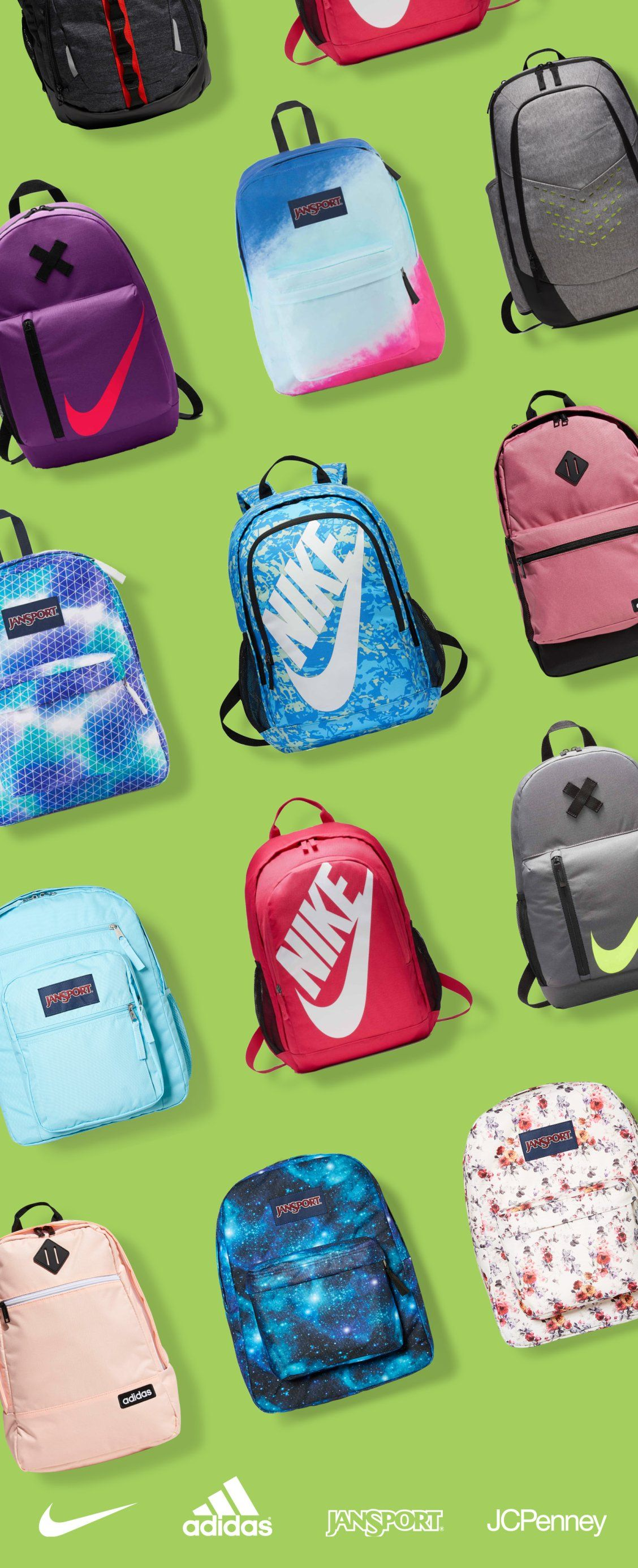 Send them back to school with a backpack from JCPenney! Find popular brands  like Nike, adidas, and JanSport. Shop JCPenney in store or online for a  backpack ... 0d8efdfab4