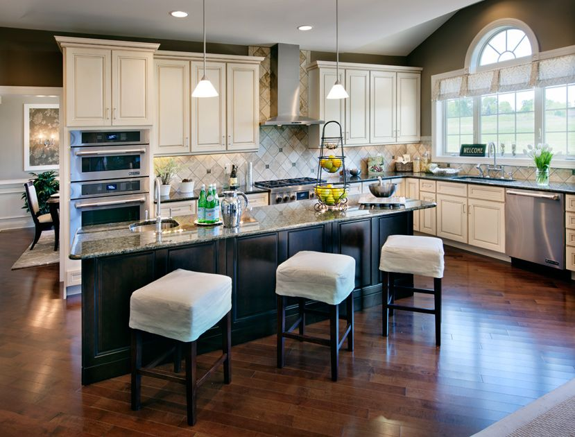 Light Cabinets Dark Island And Light Colored Stools For