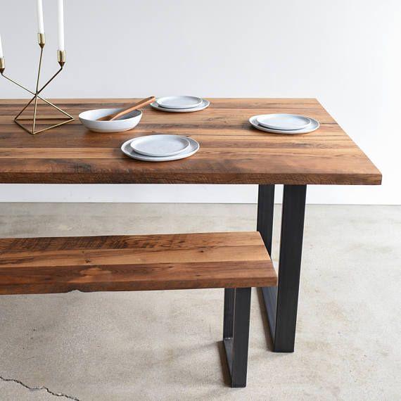 Reclaimed Wood Dining Table U Shaped Metal Legs Industrial