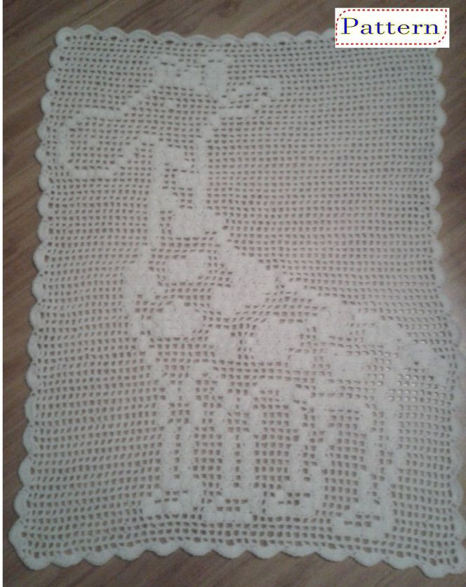 Filet Crochet Pattern For Giraffe Baby Blanket By Peachunicorn