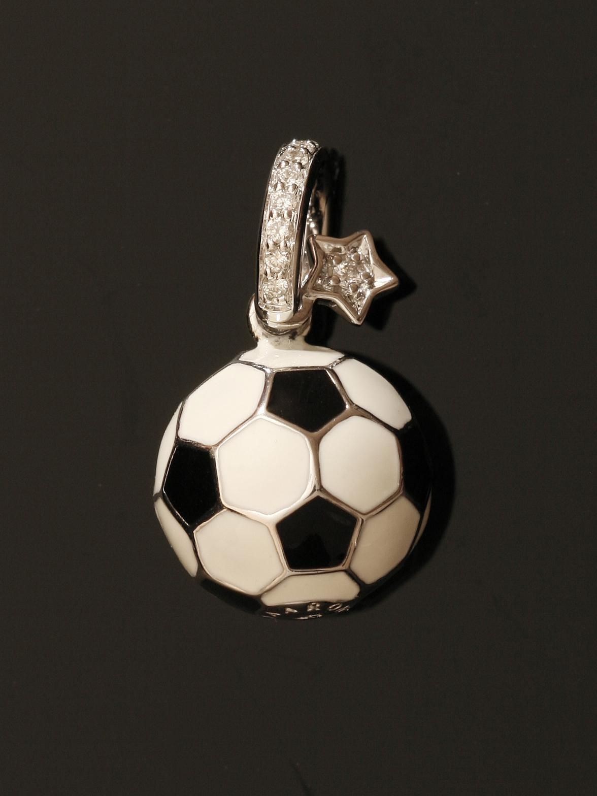 Well isn't that pretty.... Aaron Basha 18k Soccer Ball. 18k White Gold Soccer Ball Black and White with a Diamond Bail and Diamond Hanging Star. Available at London Jewelers.