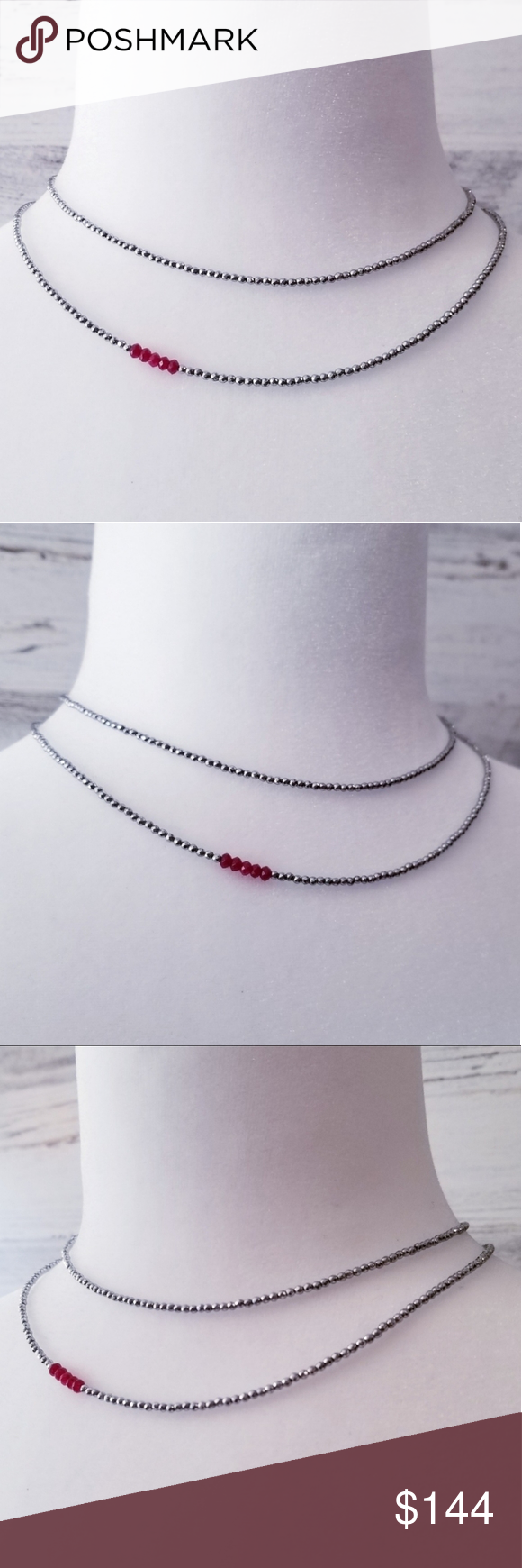 Ruby & Hematite Double Row Stacking Necklace