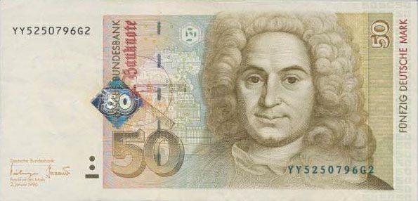 50 DM von 1996 mit Austauschserie YY Geldscheine, Geld