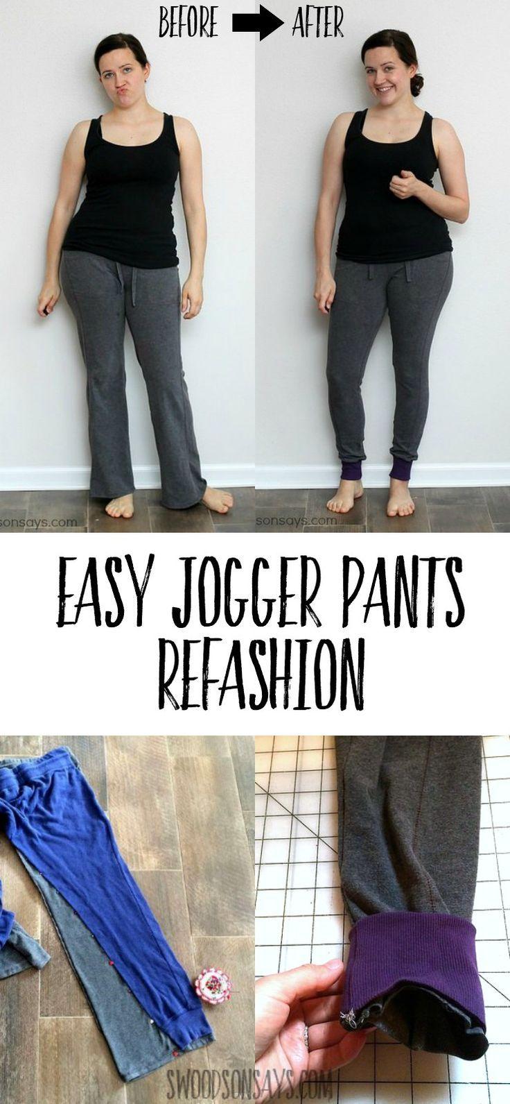 Sweatpants to Joggers- Pants Refashion Tutorial | Patrones de ...