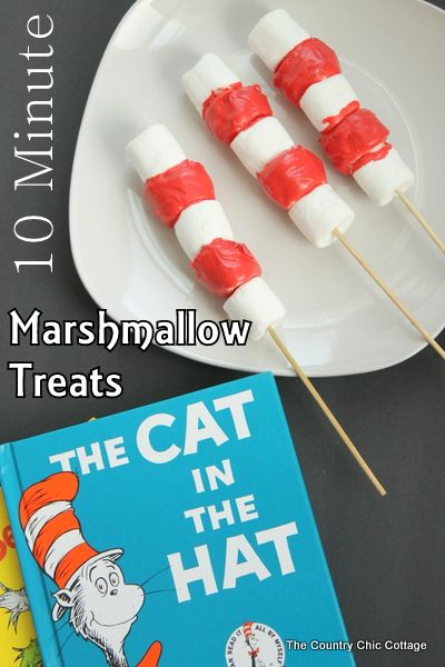 Dr. Seuss Cat in the Hat Marshmallow Treats #marshmallowtreats