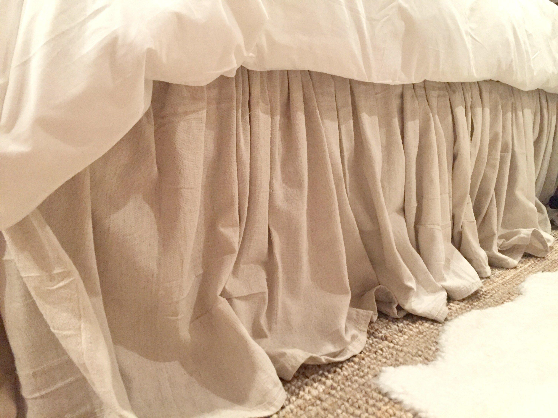 Diy no sew drop cloth bed skirt all things drop cloth