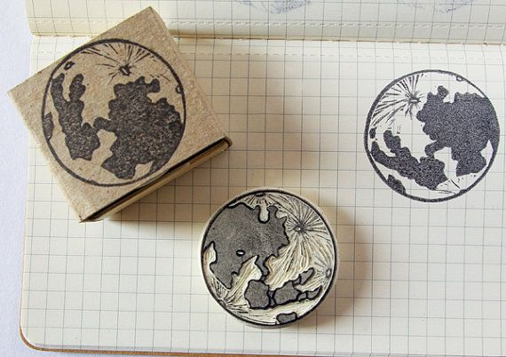 Moon rubber stamp - hand carved, dinner invitations, greeting cards, New Year's eve.