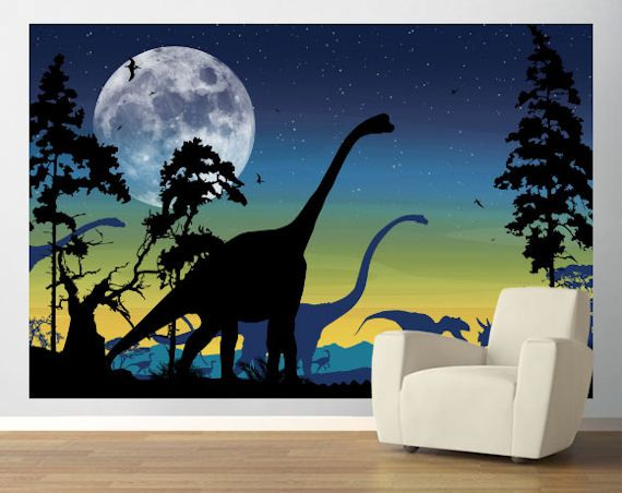 Dinosaur Landscape Navy Easy Up Mural   Wall Sticker Outlet