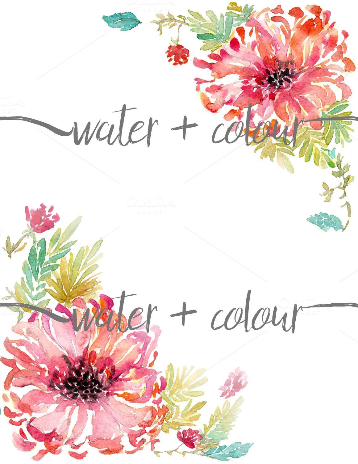 watercolor dahlia border Illustrations on Creative