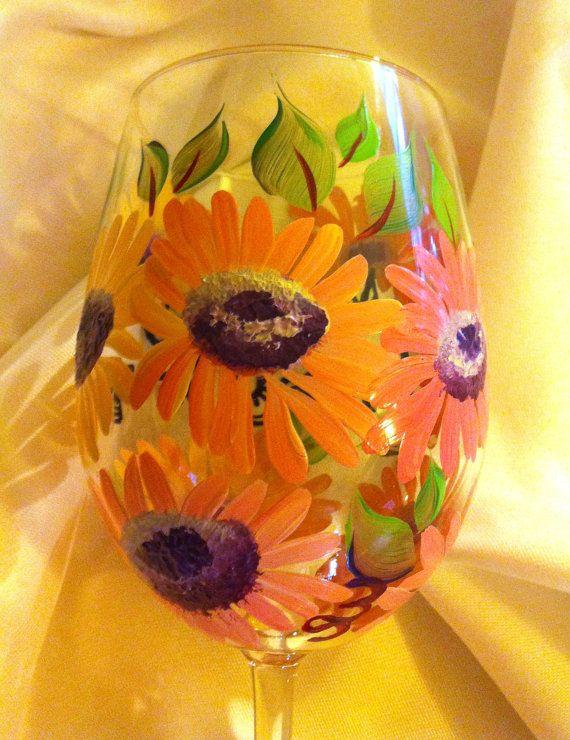 Daisy Wine Glass by thepaintedflower on Etsy