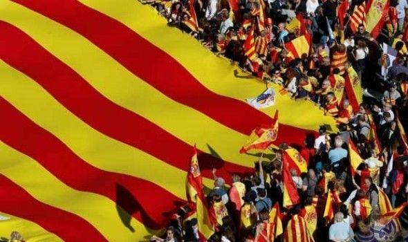 برشلونة تشهد تظاهرة شعبية أكدت رفضها استقلال إقليم كتالونيا عن إسبانيا Catalonia Spain Rally