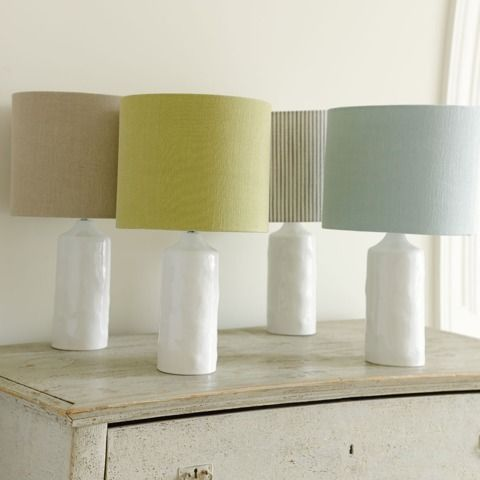 Cuppa lamp with zinc pencil stripe lampshade