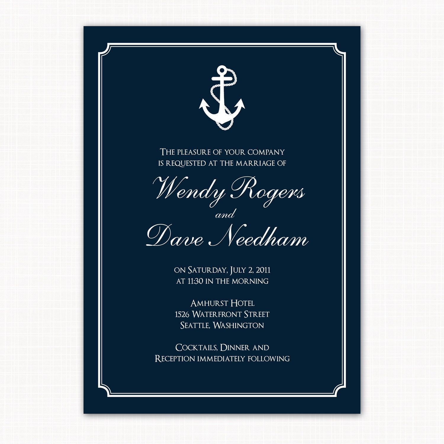 nautical themed wedding invitation anchors by saralukecreative - Anchor Wedding Invitations