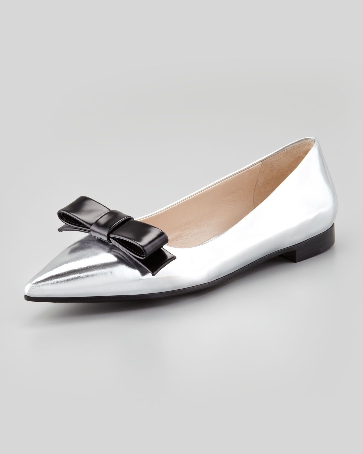 Prada Metallic Pointed-Toe Flats Red pre order eastbay purchase cheap online cheap sale for sale E2lWSX