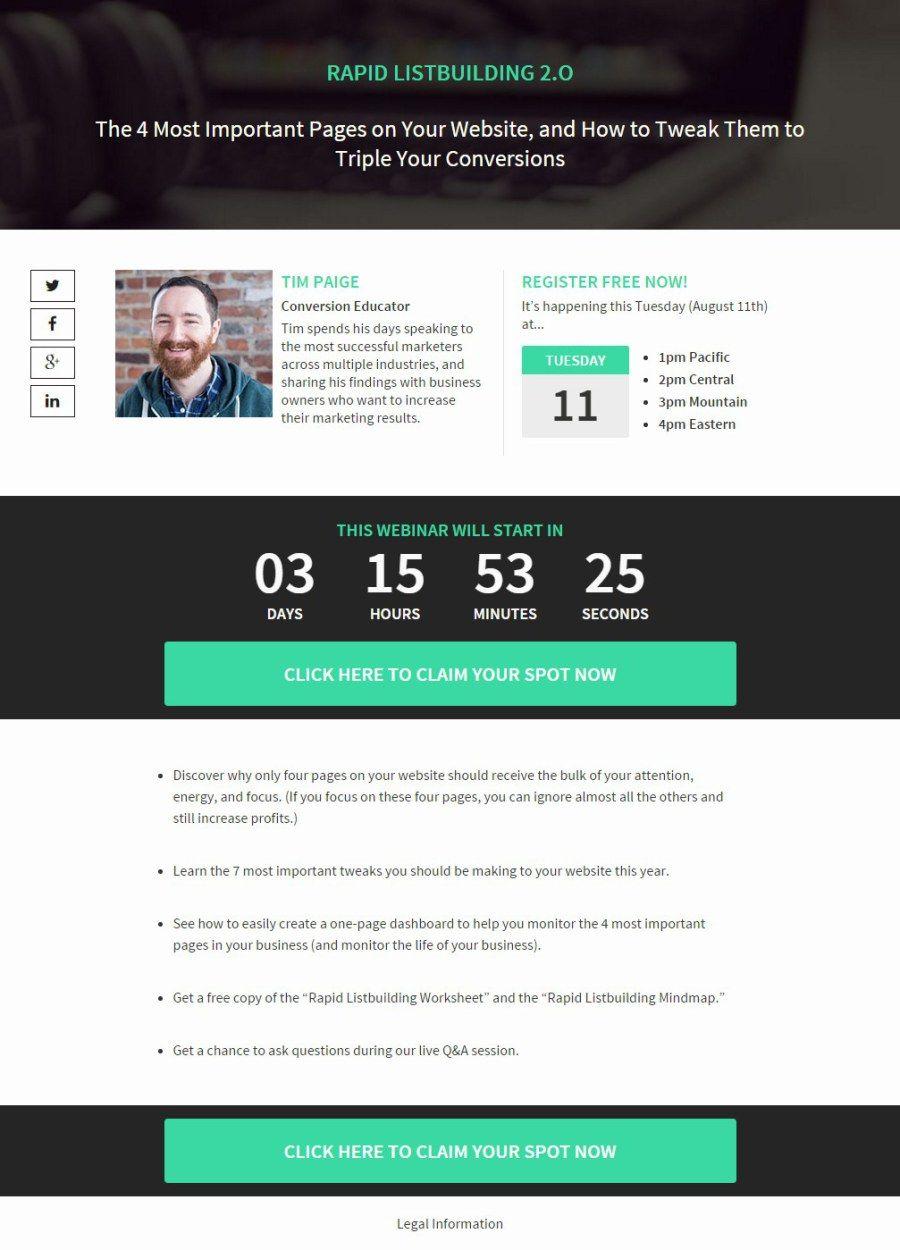 Creative Webinar Landing Page Free Template Best Landing Pages