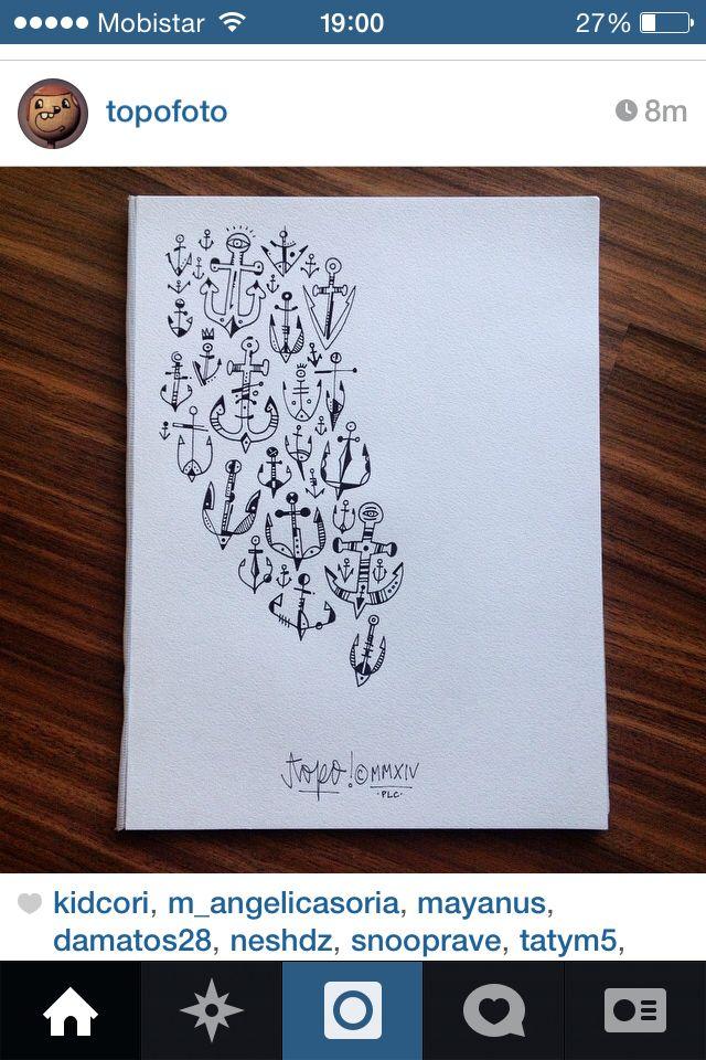 Topo tattoo. Anchors. Really like them topoflash