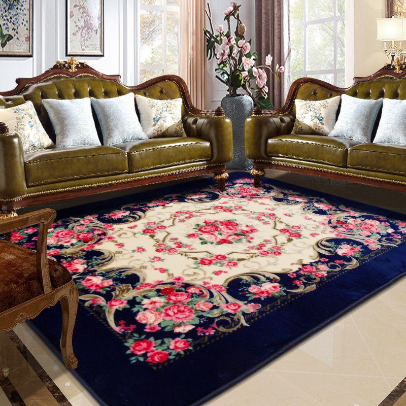 Honlaker Rose Carving Carpet Luxury Living Room Decorative Carpets
