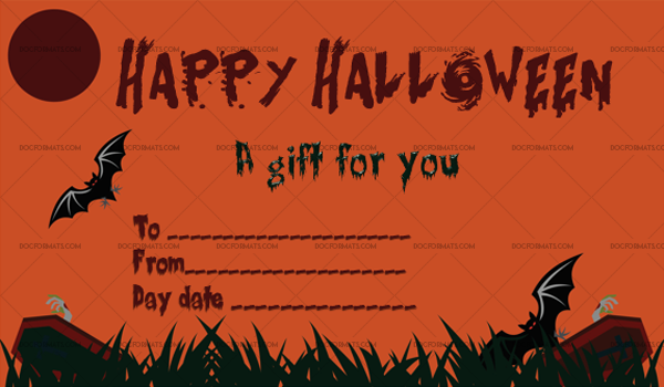 Halloween Gift Certificate Cemetery 1064 Doc Formats Gift Certificate Template Word Halloween Gifts Halloween Party Invitation Template