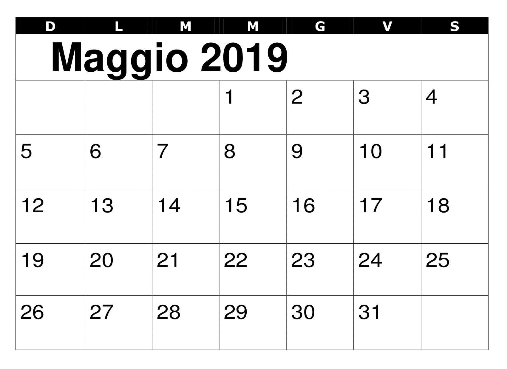 Calendario Maggio 2020 Da Stampare.Maggio 2019 Calendario Modello Calendario Maggio 2019 Da
