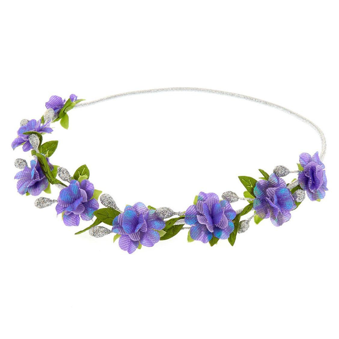 Purple and silver flower crown headwrap from festivals to days at fashion jewelry accessories claires us purple and silver flower crown izmirmasajfo