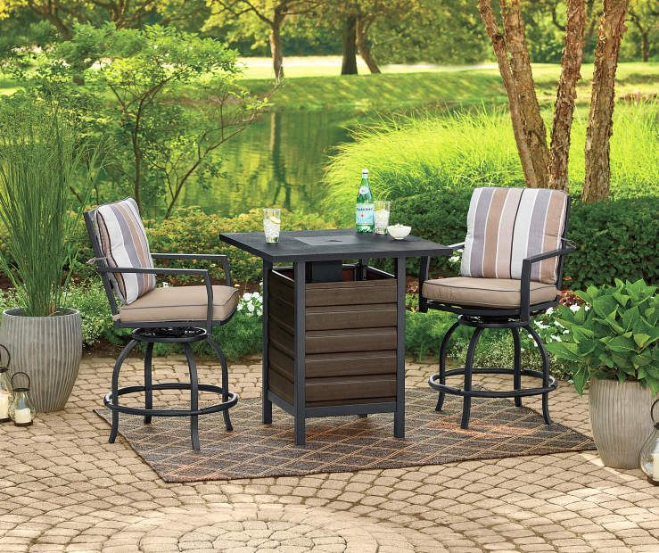 Wilson Fisher Bayshore 3 Piece High Top Bistro Fire Pit Set