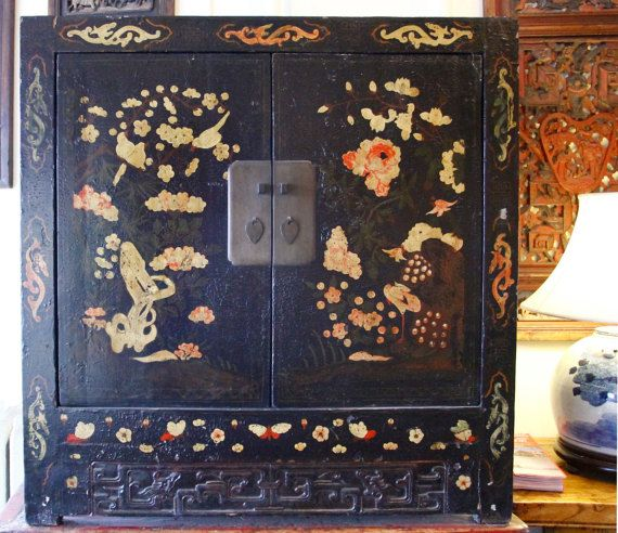 Antique Black Lacquer Cabinet With Motif Etsy Antiques Shanxi Asian Furniture