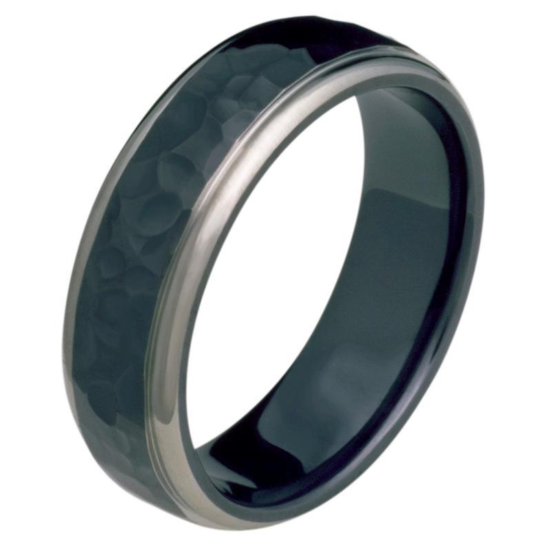 7mm Half Round Comfort Fit Black Titanium hammered Wedding