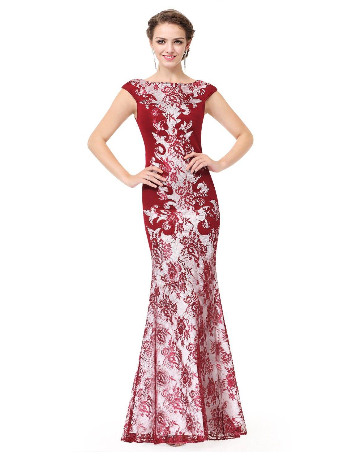 Elegantes Abenkleid in Rot mit Spitze | Lila abendkleid ...
