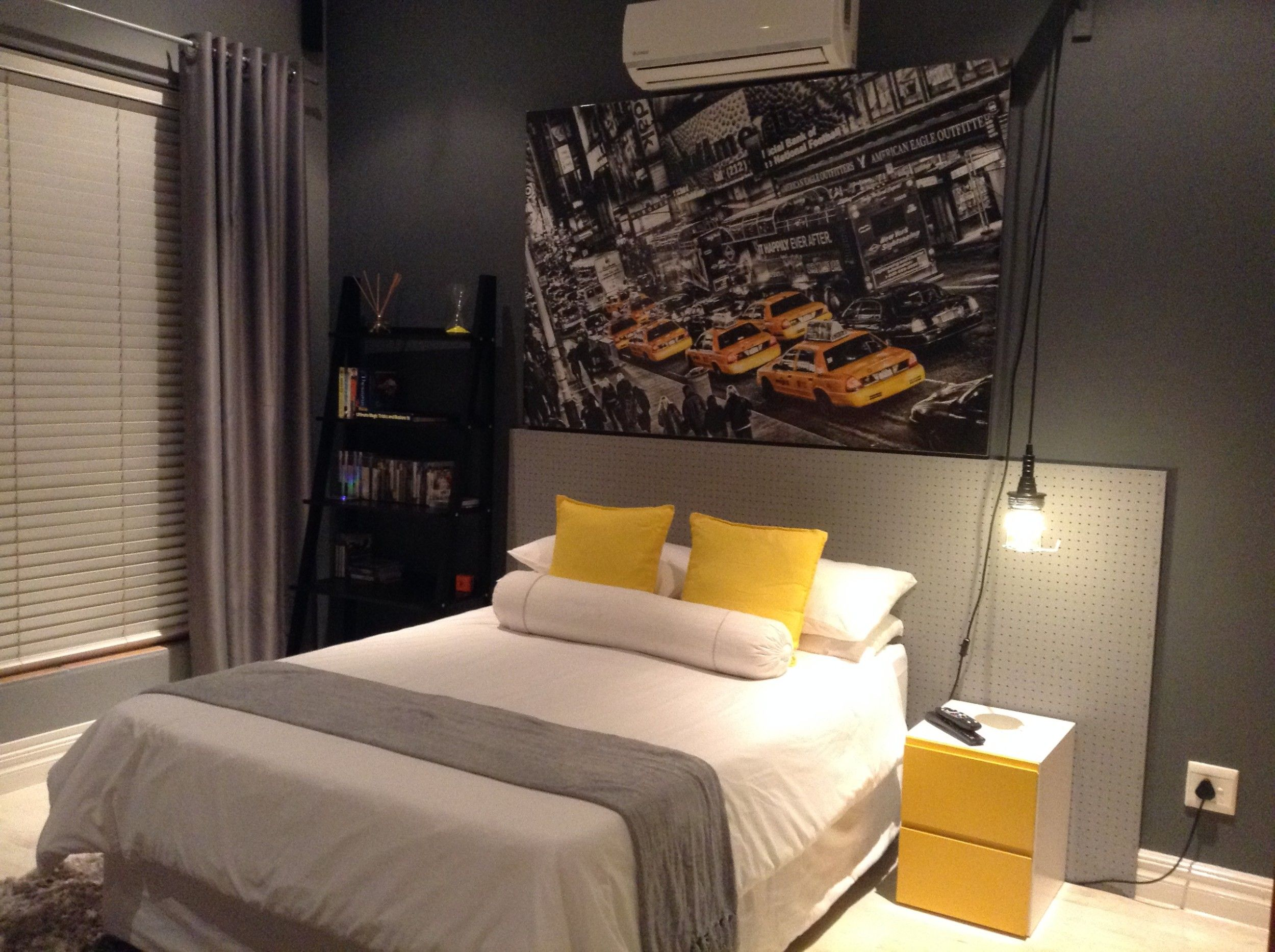 Boys Room Industrial New York Theme Bed Peg Board Headboard And New York Poster Cozy Small Bedrooms Yellow Bedroom Furniture New York Bedroom
