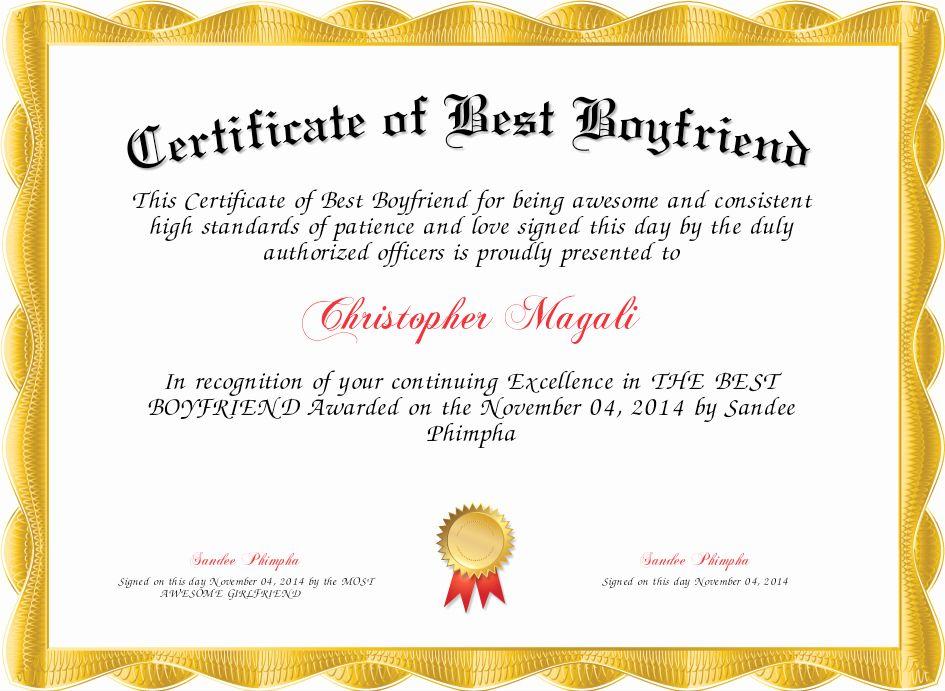Best Boyfriend Award Certificate Elegant Certificate Of Best Boyfriend Certificate Best Boyfriend Certificate Best Boyfriend Boyfriend Certificate